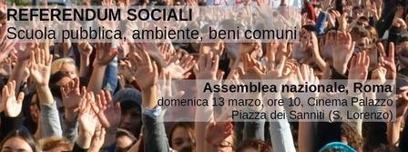Partono i referendum sociali: scuola pubblica,blocca inceneritori, trivelle zero e beni comuni